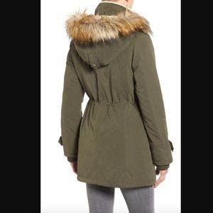 Halogen Faux Fur Hooded Anorak Coat L Green